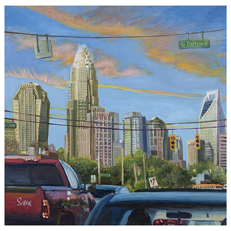 Charlotte Skyline, Original oil painting by the fine artist Eric Soller