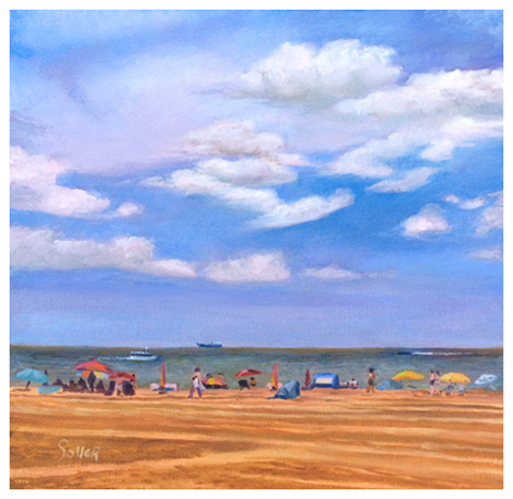 A Day at the Beach, Original oil painting by Eric Soller