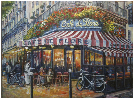 Autumn's Cafe, Original oil painting by the fine artist Eric Soller