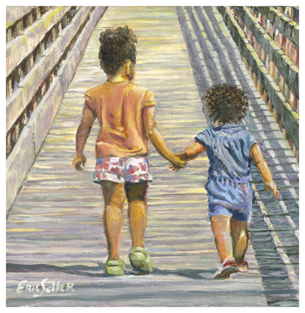 Goin' to the Beach, Original oil painting by the fine artist Eric Soller