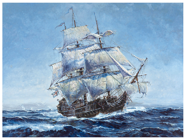 HMS Serapis, Original oil painting by fine artist Eric Soller