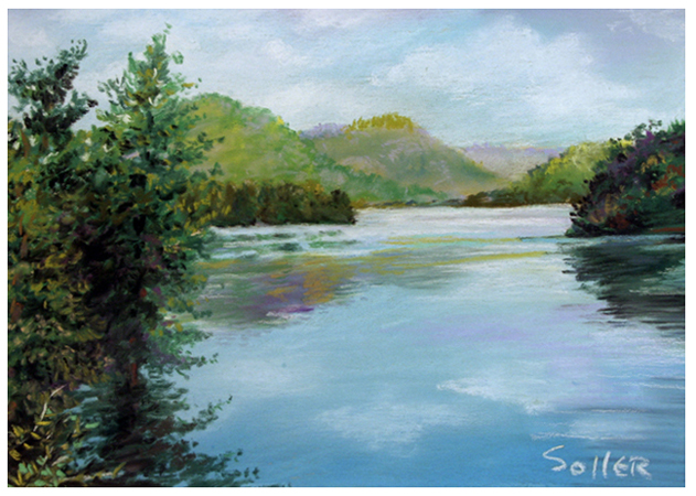 Mountain Lake, Original pastel painting by the fine artist Eric Soller