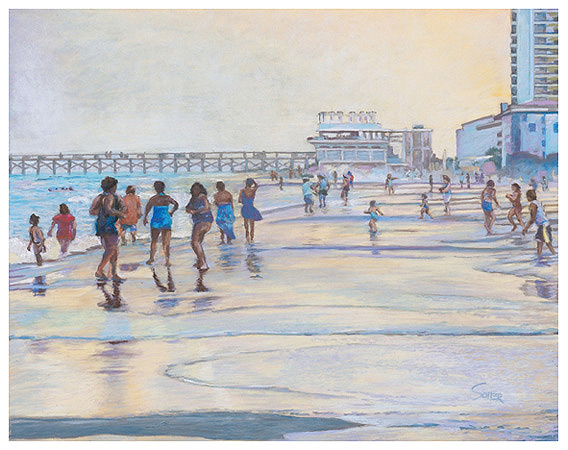 Myrtle Beach Sunset Original Pastel Painting By The Fine Artist Eric Soller