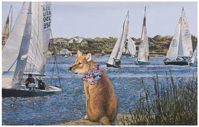 Sailing with Gracie, Giclée print with original oil enhancement by the fine artist Eric Soller